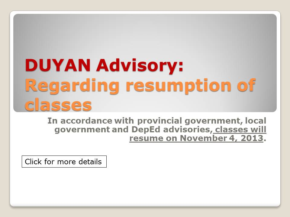 Duyan Advisory Regarding Resumption Of Classes Duyan Learning